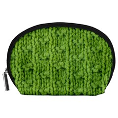Knitted Wool Chain Green Accessory Pouch (large) by vintage2030