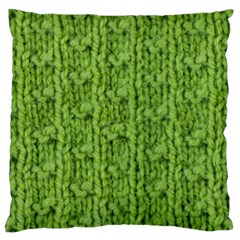 Knitted Wool Chain Green Large Flano Cushion Case (one Side)