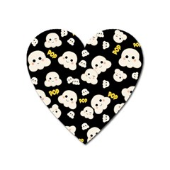 Cute Kawaii Popcorn Pattern Heart Magnet by Valentinaart