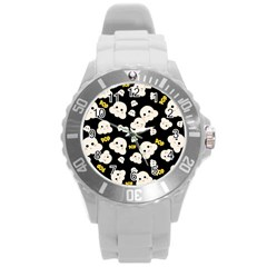 Cute Kawaii Popcorn Pattern Round Plastic Sport Watch (l) by Valentinaart