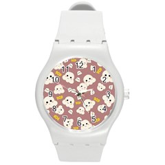 Cute Kawaii Popcorn Pattern Round Plastic Sport Watch (m) by Valentinaart
