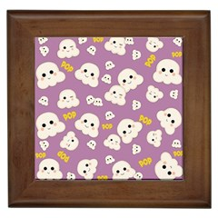 Cute Kawaii Popcorn Pattern Framed Tiles by Valentinaart