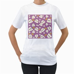 Cute Kawaii Popcorn Pattern Women s T Shirt (white)