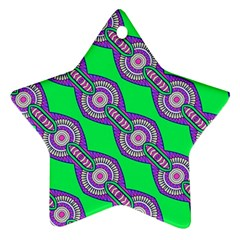 Purple Chains On A Green Background                                                    Ornament (star) by LalyLauraFLM