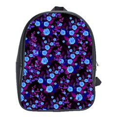 Purple Blue  Roses School Bag (xl) by snowwhitegirl
