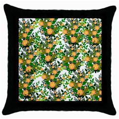 Peach Roses White Throw Pillow Case (black) by snowwhitegirl