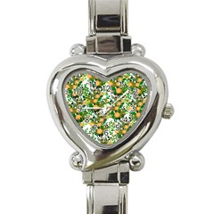 Peach Roses White Heart Italian Charm Watch by snowwhitegirl