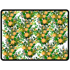 Peach Roses White Double Sided Fleece Blanket (large)  by snowwhitegirl