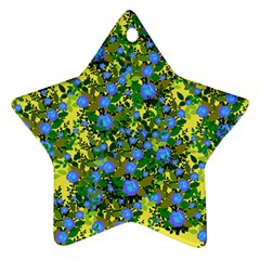 Blue Luminescent Roses Yellow Ornament (star) by snowwhitegirl