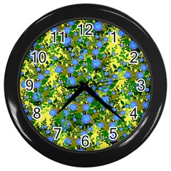 Blue Luminescent Roses Yellow Wall Clock (black) by snowwhitegirl