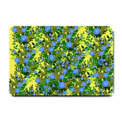 Blue Luminescent Roses Yellow Small Doormat  by snowwhitegirl