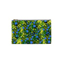 Blue Luminescent Roses Yellow Cosmetic Bag (small) by snowwhitegirl