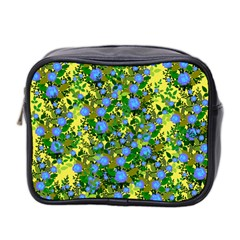 Blue Luminescent Roses Yellow Mini Toiletries Bag (two Sides) by snowwhitegirl