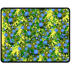 Blue Luminescent Roses Yellow Double Sided Fleece Blanket (medium)  by snowwhitegirl