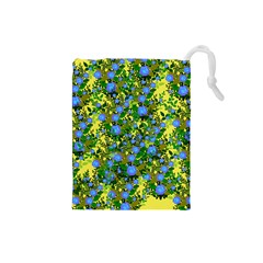 Blue Luminescent Roses Yellow Drawstring Pouch (small) by snowwhitegirl