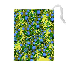 Blue Luminescent Roses Yellow Drawstring Pouch (xl) by snowwhitegirl