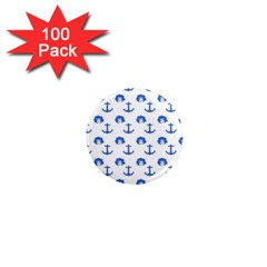 Vintage Face Anchor Blue 1  Mini Magnets (100 Pack)
