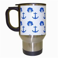 Vintage Face Anchor Blue Travel Mugs (white)