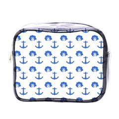 Vintage Face Anchor Blue Mini Toiletries Bag (one Side) by snowwhitegirl