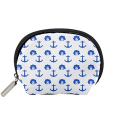 Vintage Face Anchor Blue Accessory Pouch (small) by snowwhitegirl