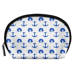Vintage Face Anchor Blue Accessory Pouch (large) by snowwhitegirl