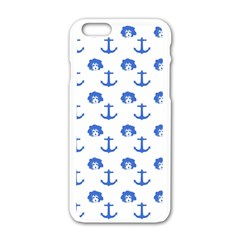 Vintage Face Anchor Blue Apple Iphone 6/6s White Enamel Case by snowwhitegirl