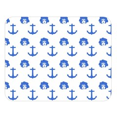 Vintage Face Anchor Blue Double Sided Flano Blanket (large)  by snowwhitegirl