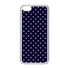 Little  Dots Navy Blue Apple Iphone 5c Seamless Case (white)