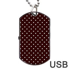 Little  Dots Maroon Dog Tag Usb Flash (one Side)