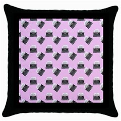 Retro Typewriter Pink Pattern Throw Pillow Case (black) by snowwhitegirl