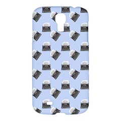Retro Typewriter Blue Pattern Samsung Galaxy S4 I9500/i9505 Hardshell Case by snowwhitegirl