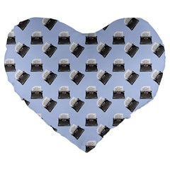 Retro Typewriter Blue Pattern Large 19  Premium Flano Heart Shape Cushions by snowwhitegirl