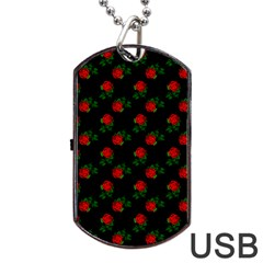 Red Roses Black Dog Tag Usb Flash (two Sides)