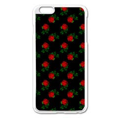 Red Roses Black Apple Iphone 6 Plus/6s Plus Enamel White Case by snowwhitegirl