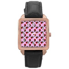 Red Roses Pink Rose Gold Leather Watch  by snowwhitegirl