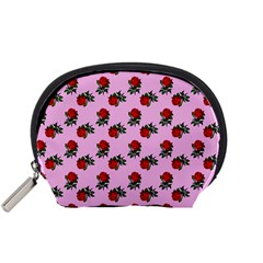 Red Roses Pink Accessory Pouch (small) by snowwhitegirl