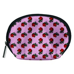 Red Roses Pink Accessory Pouch (medium) by snowwhitegirl