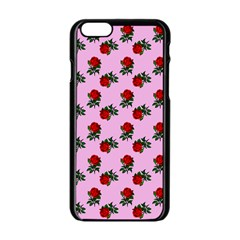 Red Roses Pink Apple Iphone 6/6s Black Enamel Case by snowwhitegirl