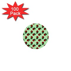 Red Roses Green 1  Mini Buttons (100 Pack)  by snowwhitegirl