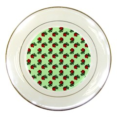 Red Roses Green Porcelain Plates by snowwhitegirl