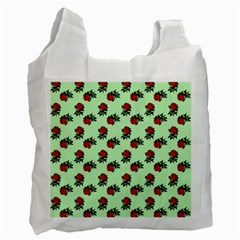 Red Roses Green Recycle Bag (one Side) by snowwhitegirl