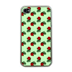 Red Roses Green Apple Iphone 4 Case (clear) by snowwhitegirl