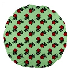 Red Roses Green Large 18  Premium Round Cushions by snowwhitegirl