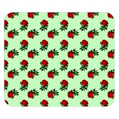 Red Roses Green Double Sided Flano Blanket (small)  by snowwhitegirl