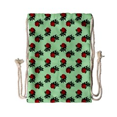 Red Roses Green Drawstring Bag (small) by snowwhitegirl