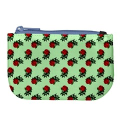 Red Roses Green Large Coin Purse by snowwhitegirl
