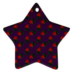 Red Roses Purple Star Ornament (two Sides) by snowwhitegirl