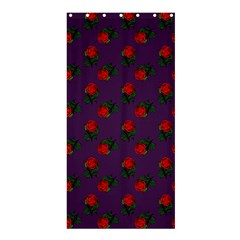 Red Roses Purple Shower Curtain 36  X 72  (stall)  by snowwhitegirl