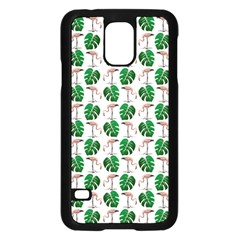 Flamingo Leaf Patttern Samsung Galaxy S5 Case (black) by snowwhitegirl
