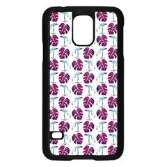 Flamingo Leaf Patttern Blue Samsung Galaxy S5 Case (black) by snowwhitegirl